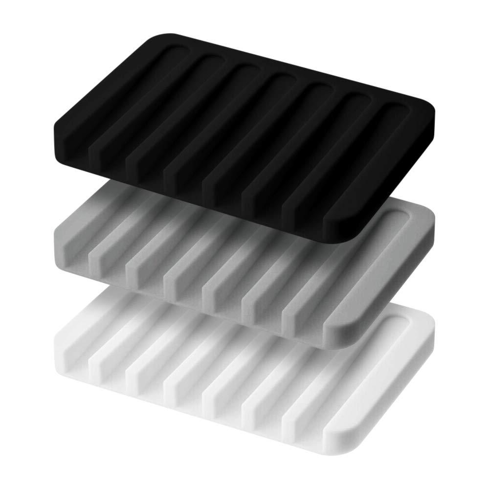 para ba/ño TOMYEER Bandeja de Silicona para jab/ón Cocina encimera de Tomyer Rectangular 3 Unidades, Color Negro y Blanco Gris