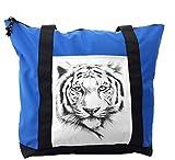 Lunarable Animal Shoulder Bag, Tiger Portrait Africa Fauna, Durable with Zipper