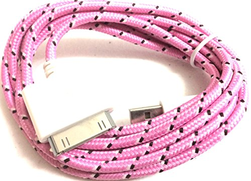 NTJ Long 2m (6ft) Woven Rope Fabric Braided Tangle Free Nylon USB Data Sync Charging Cable 30pin Ios6 Ios7 Iphone 4 4s Phones, Iphone 1st Generation, Iphone 3g, Iphone 3gs, Ipad First Generation, Ipad 2, Ipod Touch 2, 3, 4, (Iphone First Generation Ipod)