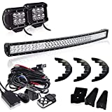 jeep bumper rack - DOT Approved 40-42 inch Curved Led Light Bar + 4In LED Pods Cube Fog Lights On Grille Front Bumper Roof Rack For Dodge Ram Polaris Jeep Renegade Toyota Tacoma Can Am SXS Marine Yamaha Honda 4x4 Truck