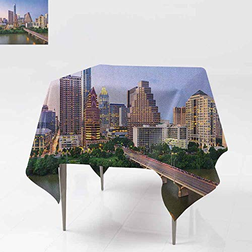 AndyTours Washable Square Tablecloth,Modern,Austin Texas American City Bridge Over The Lake Skyscrapers USA Downtown Picture,Party Decorations Table Cover Cloth,70x70 Inch -