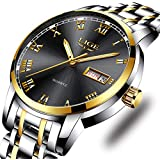 LIGE Mens Watches Fashion Waterproof Stainless Steel Analogue Quartz Watch with Gents Business Automatic Calendar Wrist Watch for Men