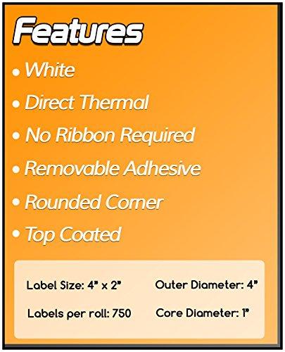 1 Inch Core - 4 x 2 Zebra Compatible Direct Thermal Quick Remove REMOVABLE Labels 04 Rolls for Zebra Desktop Printer GC420d GC420t GK420d GK420t GX420d GX420t GX430t LP2844 LP2442 TLP2844 ZP450 ZD500 ZD500R ZP500 ZP505 Photo #6