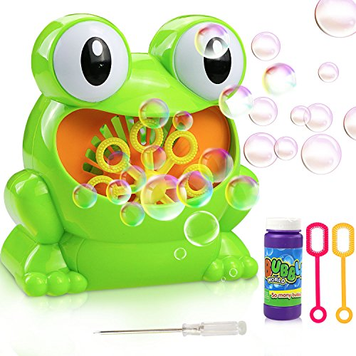 Gifort Frog Bubble Blower Machine, Automatic AA Battery Powered (Battery Not Included) Bubble Machine Cute Shape High Output Portable Ideal Toys Gift for Kids