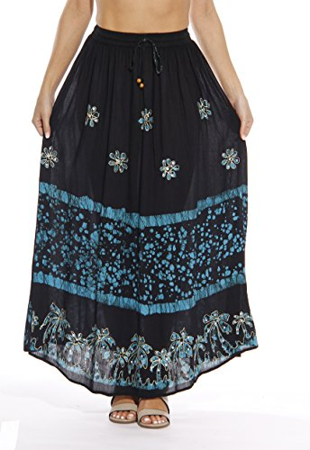 Riviera Sun Skirts For Women,Black / Turquoise,Large