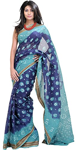 Exotic India Blue and Green Shaded Bandhani Tie-Dye Sari from Rajasthan with Wov