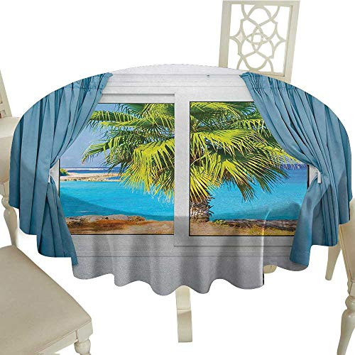 crabee Round Tablecloth Vinyl Beach,View from Window with a Curtain Tropical Beach Sunlight Horizon Palm Ocean Print,Blue Green D70,for Wedding Reception Nave Blue