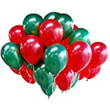 Arts & Crafts : 100pcs Merry Christmas Latex Balloons 10 Inch 0.063Ounce Thickening Pearl Balloons for Wedding Birthday Party Festival Christmas Decorations Red and Green Balloons