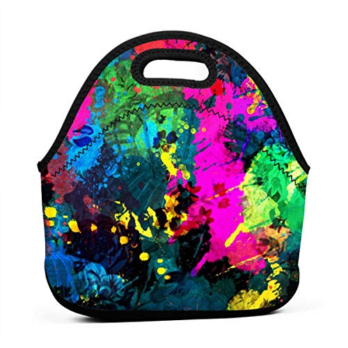 (NBXIXI Colorful Artistic Pigment Splash Lunch Bags Multi-Purpose Bento Boxes Insulated and Reusable Tote Bag for Youth)