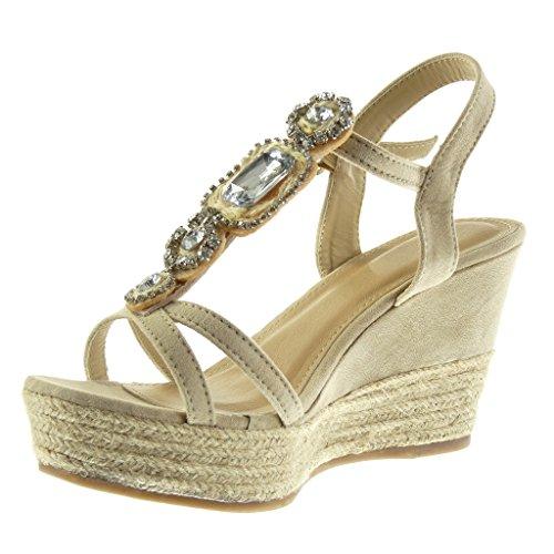 Sandale Mode Corde Espadrille Angkorly 9 Talon cm Lanière Chaussure Compensé Plateforme Bijoux 5 Beige Femme Plateforme Salomés fw1fqAE