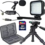 16GB Memory Card + 12'' Professional Table Top Tripod + Steel Media Card Holder for 8 SD and MircroSD Cards + Video LED Light + Lavalier Condenser Microphone