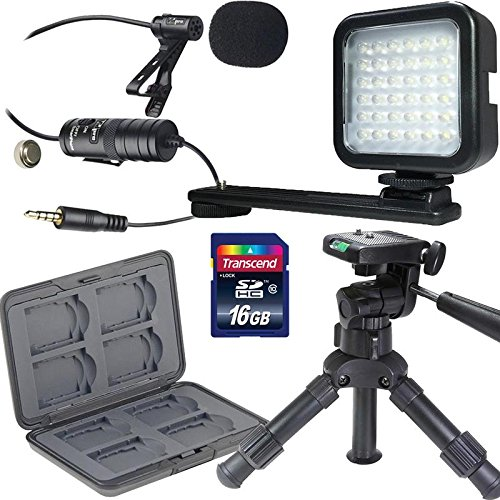 16GB Memory Card + 12'' Professional Table Top Tripod + Steel Media Card Holder for 8 SD and MircroSD Cards + Video LED Light + Lavalier Condenser Microphone by Teds