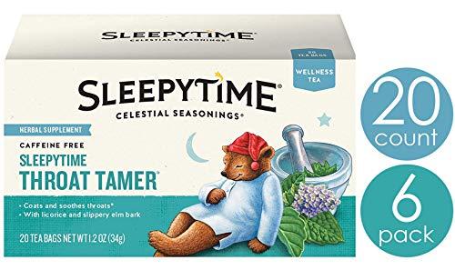 Celestial Seasonings Wellness Tea, Sleepytime Throat Tamer, 20 Count Box (Pack Of 6)