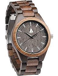 Treehut Mens Walnut and Ebony Wooden Watch with All Wood Strap Quartz Analog.