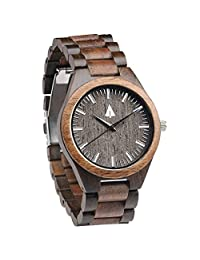 Treehut Men's Walnut and Ebony Wooden Watch with All Wood Strap Quartz Analog with Quality Miyota Movement and Stainless Steel Tri-Fold Clasp with Push Buttons