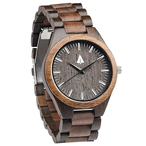 Treehut Men's Walnut and Ebony Wooden Watch with All Wood Strap Quartz - Watches Hut