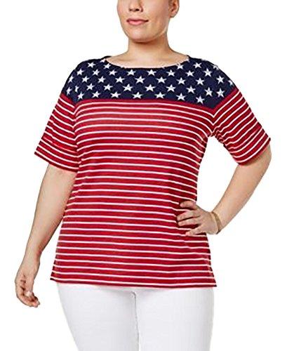 Karen Scott Plus Size Stars & Stripes, New Red Amore, (1X) from Karen Scott