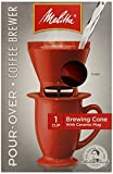 Melitta Single Cup Pour-Over Coffeemaker with Red Brewing Cone and Ceramic Coffee Mug (Pack of 4)