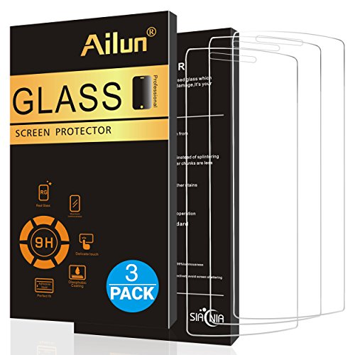 LG G4 Screen Protector,[3 Pack]by Ailun,Tempered Glass,9H Hardness,2.5D Edge,Ultra Clear Transparency,Anti-Scratches,Case Friendly-Siania Retail Package