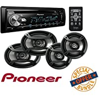 Single Din CD Receiver with USB & Aux Input W/ Two Pairs 200W 6.5 + 230W 6x9 Car Audio 4 Ohm Component Speakers