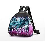 DDLBiz Women Girl Cute Holographic Backpack Travel Rucksack Shoulder Shiny Sequins School Bags (Purple)
