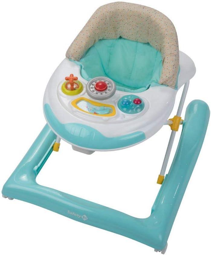 Safety 1st Bolid Andador bebé primeros pasos, 3 alturas regulables, Centro de actividades con 12 melodias, asiento alcochado, Base Antivuelco, color Happy Day