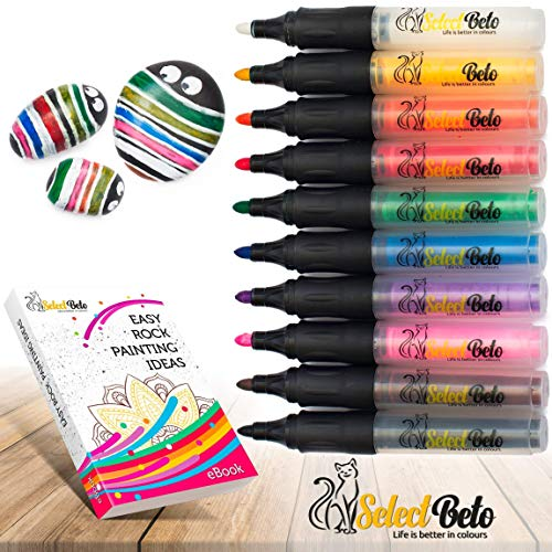 Paint Pens for Rock, Stone, Ceramic, Glass, Mugs, Wood, Metal, Fabric, Canvas - Set of 10 Acrylic Paint Markers Medium Tip + Stencil for YOU