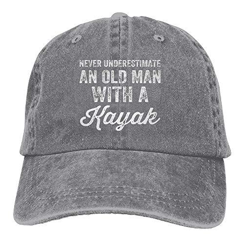 NVJUI JUFOPL Never Underestimate An Old Man With A Kayak Adjustable Washed Cap Cowboy Baseball Hat Ash