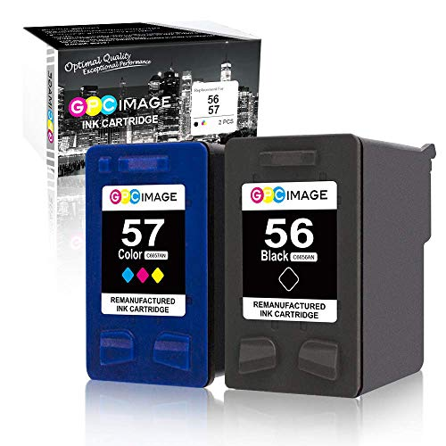 GPC Image Remanufactured Ink Cartridge Replacement for HP 56 & 57 C6656AN C6657AN to use with Deskjet 5650 5550 5150, Photosmart 7350 7260 7450 7550, PSC 2210 Printer (1 Black,1 Tri-Color) 2-Pack