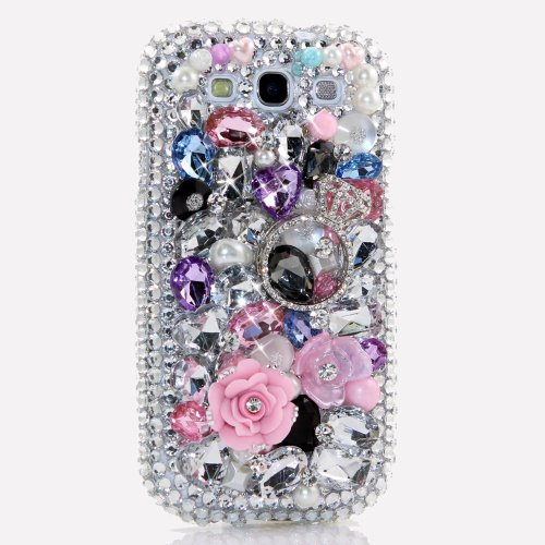 Samsung Galaxy S4 I9500 Luxury 3d Bling Case - Gorgeous Pink Rose Promise Ring True Love Design - Swarovski Crystal Diamond Sparkle Girly Protective Cover Faceplate (100% Handcrafted By Star33mall)
