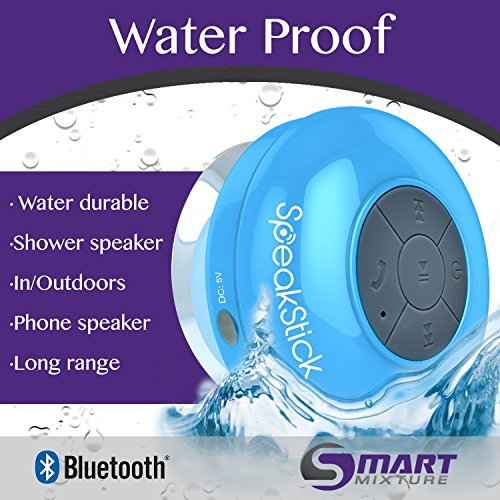 Speakstick LED Wireless Shower Speaker with 3.0 Bluetooth Technology for the Shower, Pool, Beach, or Hot Tub. Portable, IPX4 Waterproof with Microphone and 6 Hours of Playtime (Blue)