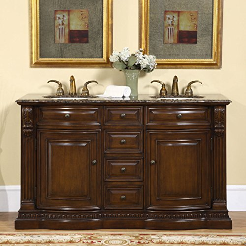 Delightful Silkroad Exclusive Granite Ivory Stone Top Double Sink Bathroom Vanity With  Cabinet, 60 Inch