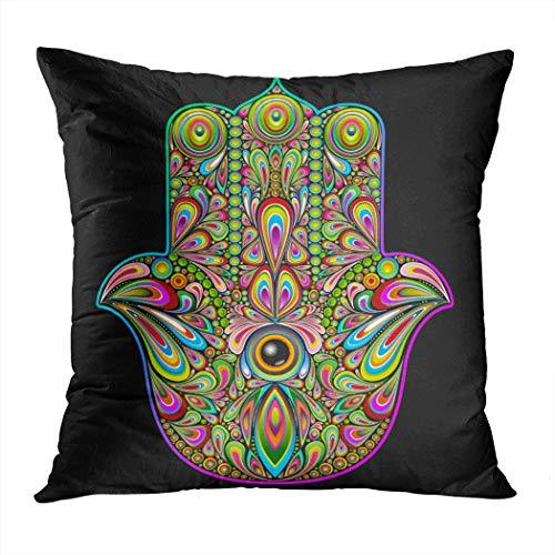 Sgvsdg Throw Pillow Cover Hamsa Hand Psychedelic Art Square Hidden Zipper Home Living Room Car Cushion Cover Decorative Pillowcase 20 X 20 Inch -