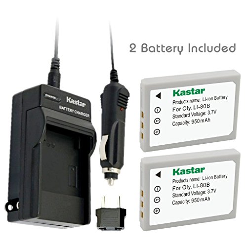 Kastar Battery (2-Pack) and Charger Kit for Olympus Li-80...