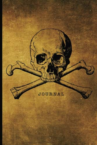 Journal: Halloween Skull and Crossbones Pirate Flag Design | 128 College Ruled Pages: 6 x 9 in Blank Lined Journal with Soft Matte Cover | Notebook, ... school, students, homeschool and teachers ()