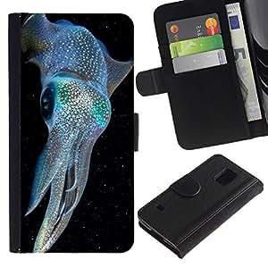 All Phone Most Case / Oferta Especial Cáscara Funda de cuero Monedero Cubierta de proteccion Caso / Wallet Case for Samsung Galaxy S5 V SM-G900 // kraken iridiscente buceo azul eléctrico