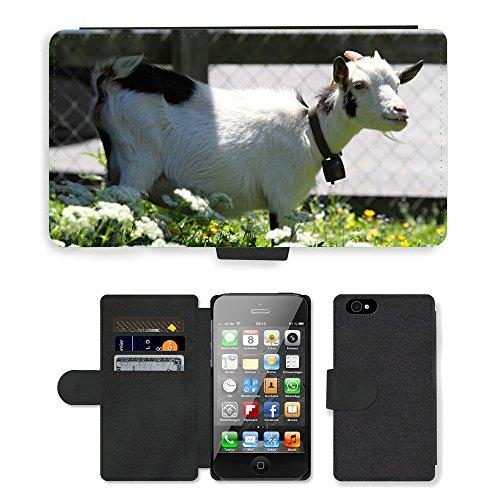 Just Phone Cases PU Leather Flip Custodia Protettiva Case Cover per // M00127666 Suisse Goat Mountain animale // Apple iPhone 4 4S 4G