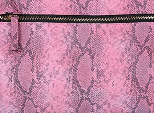 Rosa, fuskläder, orm-effekt, kuvertväska för damer
