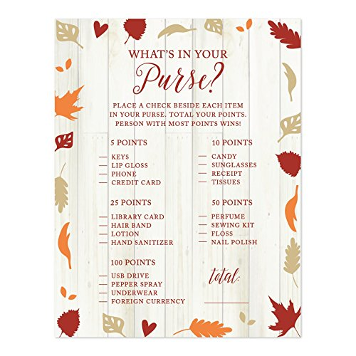 Andaz Press Fallin' in Love Autumn Fall Leaves Wedding Party Collection, What's in Your Purse? Bridal Shower Game Cards, 20-Pack -