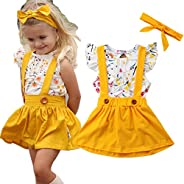 i-Auto Time Toddler Baby Girl Clothes Floral Ruffle Shirt+Suspender Skirt Outfits Set