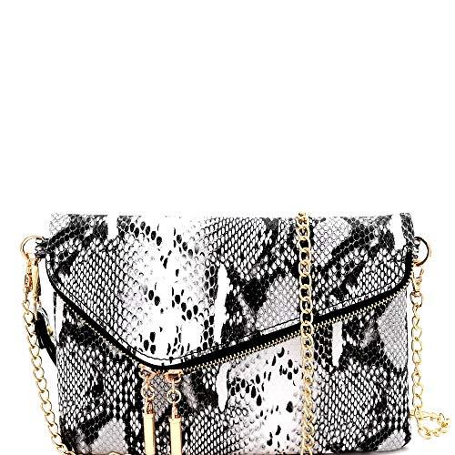 (Snake Print Soft PU Leather Envelope Clutch Bag with Crossbody Chain Strap (Medium Envelope - Black))