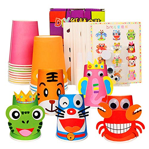 Zodiac Paper Cup Gift Box | Children's Handmade Cartoon Stickers | Creative DIY Animal Paper Cup Kit | Preschool Crafts for Kids Boys Girls | Early Educational Playing Toys for Kids (12PCS)