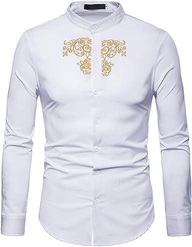 Overdose Camisas para Hombres Camisas Manga Larga Blancas Boda Slim Fit Retro Originales Ibicenca T Shirt Hombre: Amazon.es: Ropa y accesorios