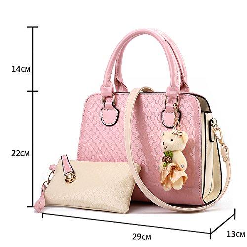 Handbag Handbag Shoulder Bag Messenger Tisdaini Fashion Ladies Pendant Bag Ladies Black Retro Bear Wallet Pink Bag SqOwU