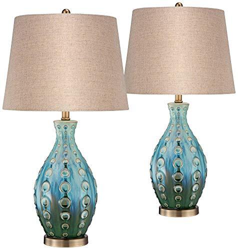Mid Century Modern Table Lamps Set of 2 Ceramic Teal Handmade Tan Linen Tapered Shade for Living Room Family Bedroom - 360 Lighting