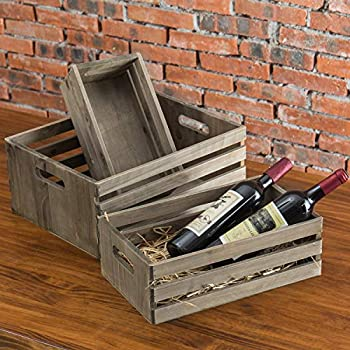MyGift Set of 3 Nesting Barnwood Gray Storage Crates with Cutout Handles
