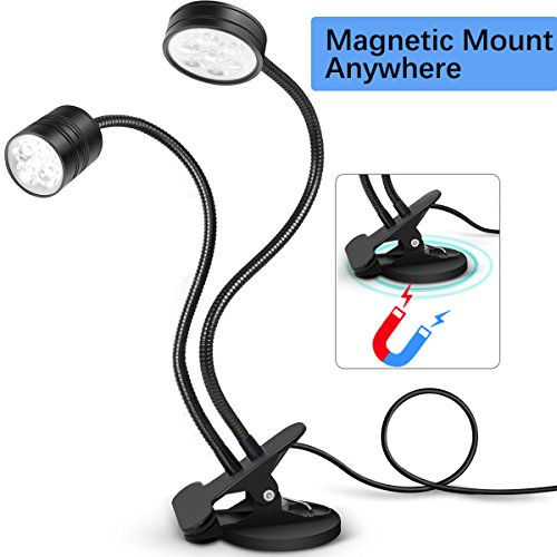 LED Task Light SunKoda Magnetic Work light with Clip On Flexible Working light Dual Gooseneck lights Adjustable Table Desk Lamp for Band Saw, Sewing Machine, Craft, Book Reading Lighting (Cool White)