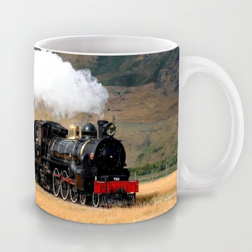 Wonderful Gift Choice - White 11 oz Classic White Ceramic Mugs Cutom Design with Locomotive Train Smoke Coffee Mugs/Tea Mugs/Drink Cups - Dishwasher and Microwave Safe