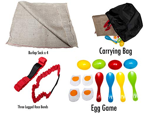 3 Fun Outside Games For Kids And Adults - The Potato Sack Race, the 3 Legged Relay Race and the Egg and Spoon Race - Compact bag for easy -