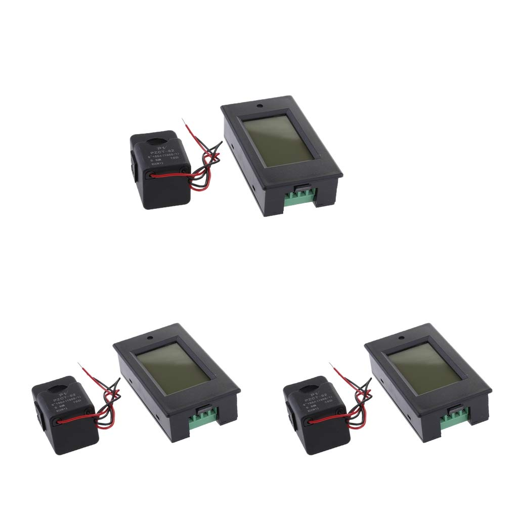 kesoto 3Pack 4 in 1 Digital AC 80-260V 100A Voltage Current Watt Power Energy Meter PZEM-061 with Split CT (Open-Close Current Transformer)